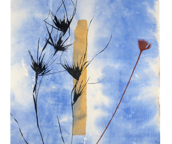 Judy Watson, standing stone, kangaroo grass, red and yellow ochre