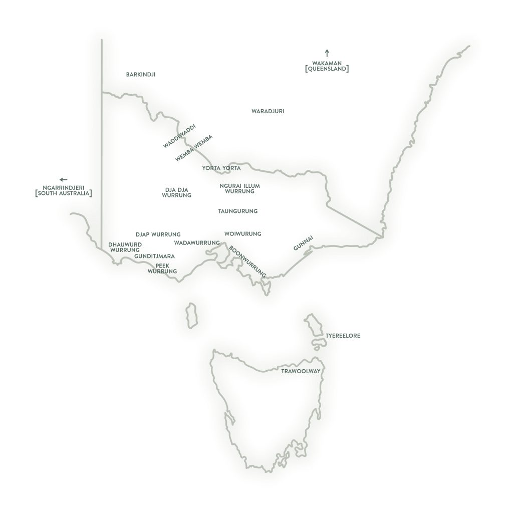 A map of Victoria and surrounding states showing the location of First Nations language groups